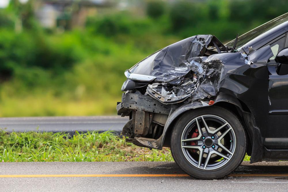 car crashed front end