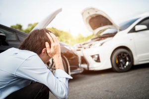 man injured in auto collision